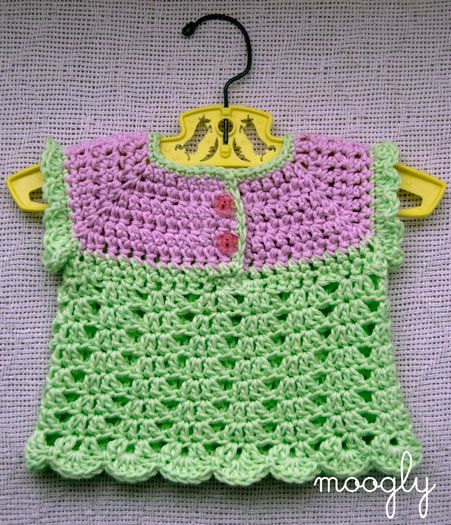 Summer Breeze Baby Sweater - free #crochet pattern on Moogly!  Sized to fit 0 to 3 month olds, this baby sweater pattern is fantastically versatile. Add long sleeves to make a great winter layer, or add more rows in the pattern to make a gorgeous baby sweater dress.