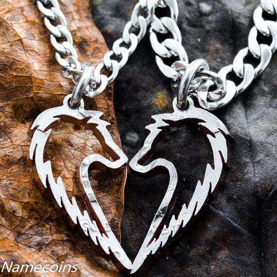 Collar de lobo tribal, conjunto de joyas parejas, hechos a mano medio dólar, monedas cortadas a mano