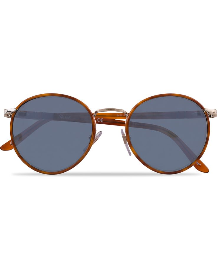 Persol 0PO2422SJ Round Sunglasses Light Gold/Light Blue  i gruppen Solglasögon / Runda solglasögon hos Care of Carl (12671210)