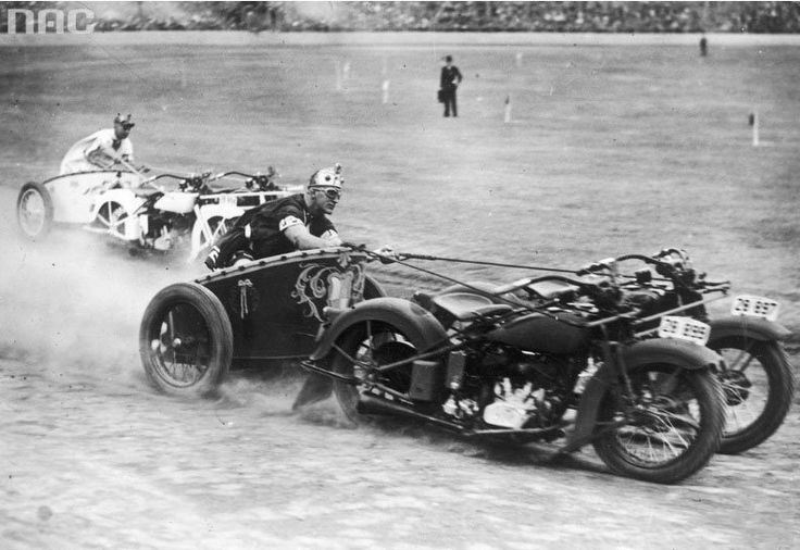 There was such a thing as motorcycle chariots, this Picture was taken on 1936
