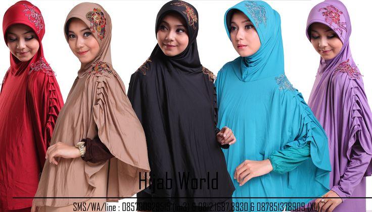 Jilbab syar'i Bahan jersey dengan kombinasi brocade dibagian bahu dan pet, kode JB-DRS sms/wa 0821.4284.5152