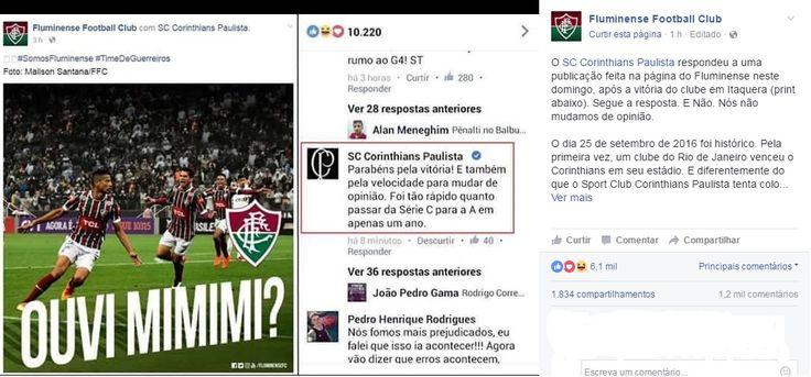 """""""Mimimi?"""": Após duelos polêmicos, Timão e Flu trocam farpas pela internet #globoesporte"""