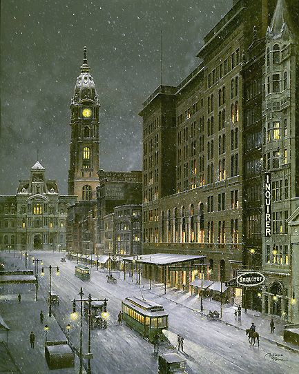 "philadelphia snow photos | Old Philadelphia - Snowfall on Market Street""by Paul McGehee"