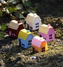 10 peças bonito resina artesanato casa e moinho de vento do jardim de fadas miniaturas gnome Micro paisagem decoração bonsai para decoração de casa(China (Mainland))