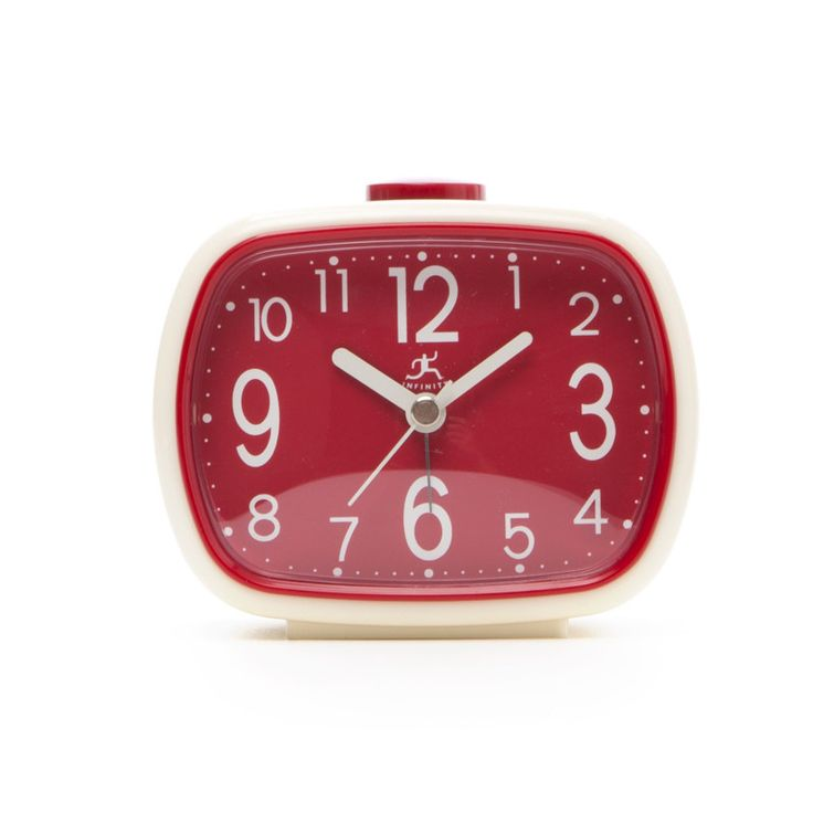 Infinity Instruments That 70's Retro Alarm Clock in Cream with Red Face