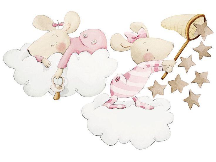 """El vinilo decorativo para habitación infantil """"Atrapando una estrella"""" nos muestra a dos simpáticas ratitas en pijama, una durmiendo sobre una nube y la otra cazando estrellas.  Las figuras son recortadas, y el dibujo es una reproducción de uno hecho a mano.  Tienen lámina protectora y son lavables.    Es de Sueños de Cigüeña y lo podéis encontrar en:  http://www.aqinteriores.es/vinilo-para-habitacion-infantil-atrapando-una-estrella_1004.html"""