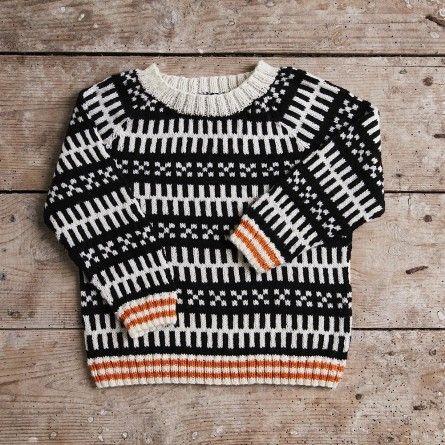 Mads Nørgaard Babytrøje, sort/hvid. Også i større størrelser under underkategorien børn i stedet for baby.