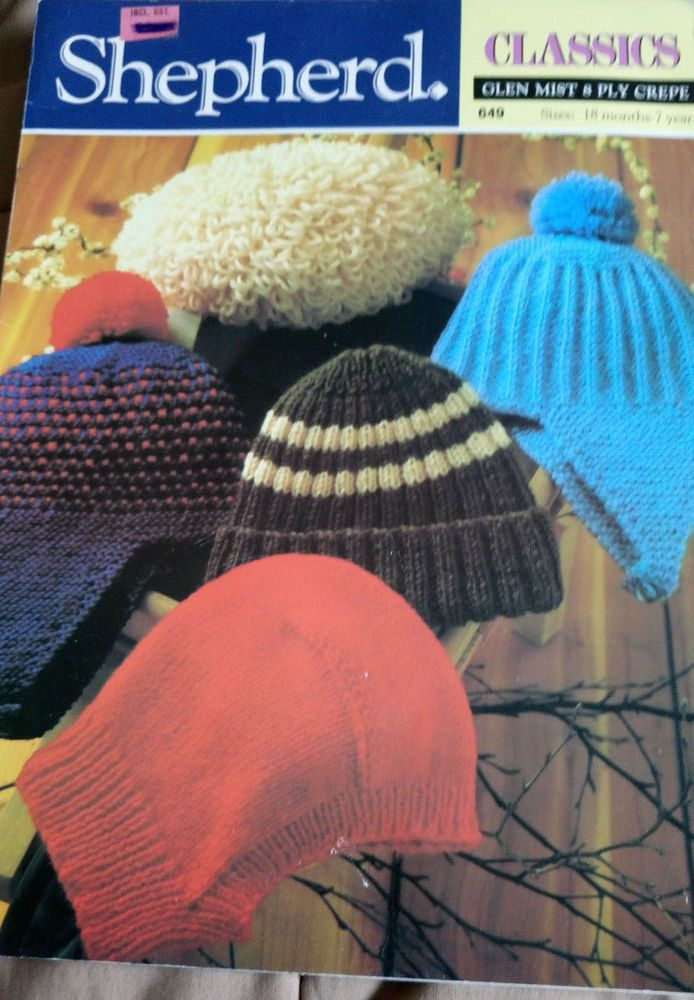 Baby Hats Shepherd 649 vintage knitting pattern DK yarn 18 mths - 7 years winter #Shepherd