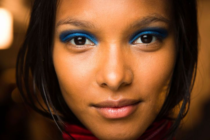 Spring Makeup Trend: Blue Eyeshadow At Marc by Marc Jacobs, models wore a stunning statement lid in rich, solid blue from lash line to crease.
