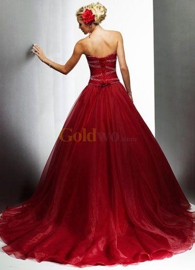 Wine Red Ball Gown Style Sweetheart Beaded Organza Wedding Dress - US$212.99 - Goldwo.com