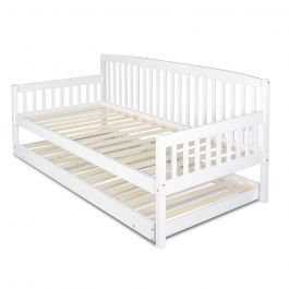 Sofa bed/day bed with pull out trundle fold out legs wooden slats single white. Converts to a double bed with the trundle at the same level