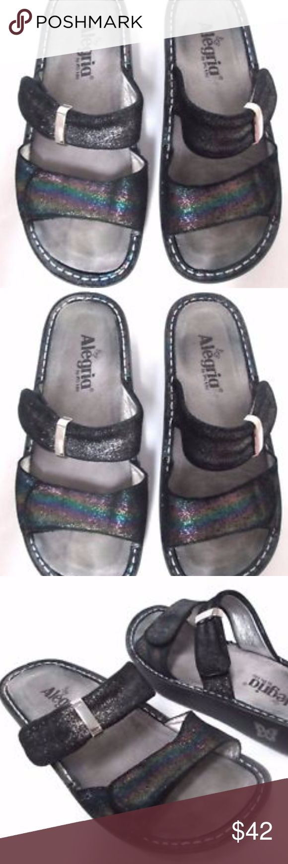 """Alegria Kar black shimmer leather slides sandals 7 Alegria sandals in excellent condition. Size 7, leather, heel is 1.2"""". Pet and smoke free home. Alegria Shoes Sandals"""
