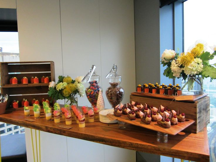 Dessert buffet for a womens cocktail event. Burch and Purchese - simply fantastic beautiful looking dessert goodies
