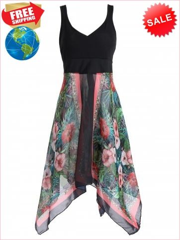 ce1b7065777af Best Prices Plus Size Sleeveless Printed Handkerchief 1222777  X8GKrMe6O5N2kPjv0mCZ Cheap Sale  RoseGal.com