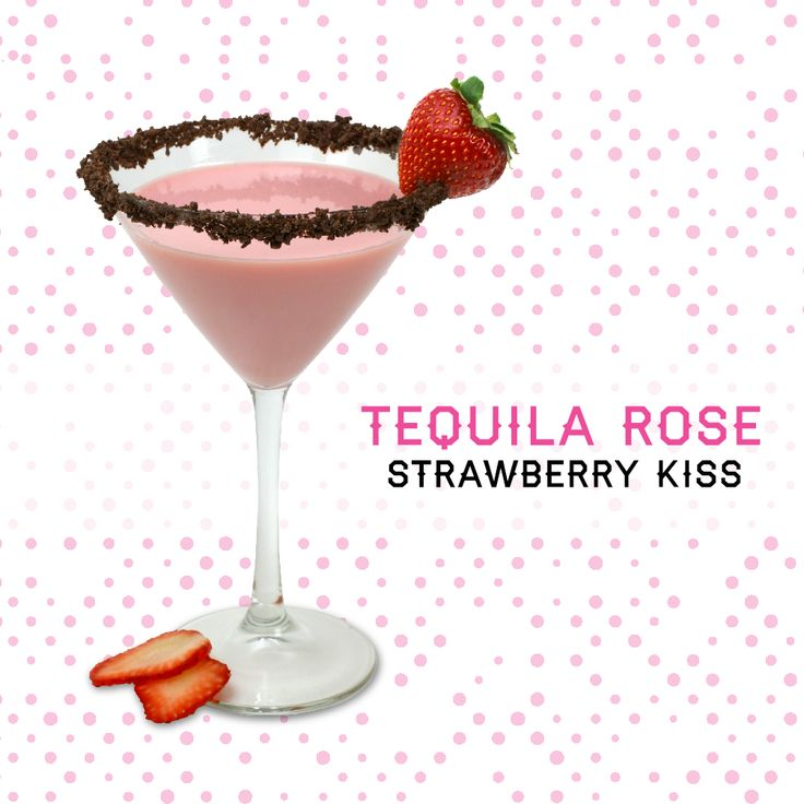 Strawberry Kiss 1 oz. Tequila Rose .5 oz.  light rum 1 oz. chocolate liqueur 1 oz. half and half  Pour all the ingredients into a cocktail shaker with ice cubes. Shake well. Strain into a chilled cocktail glass.
