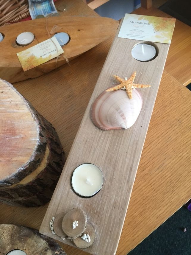 Wooden candle holder Reclaimed Oak two Tealights