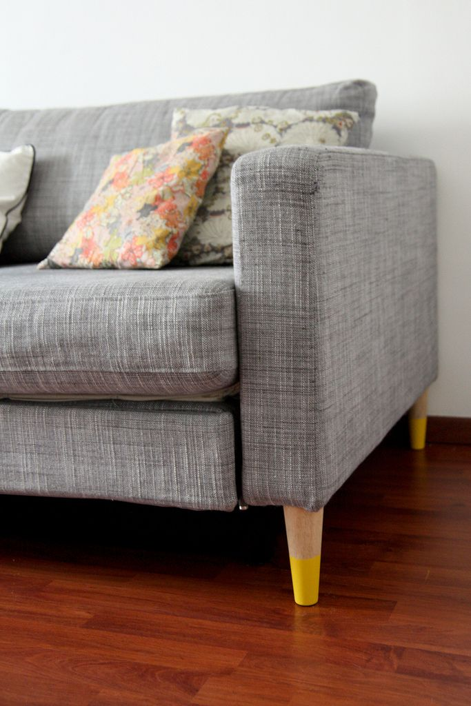 DIY furniture legs. Inspired by this new website prettypegs that creates and sells legs for Ikea furniture; super easy and cheap DIY for Karlstad sofa & bed.