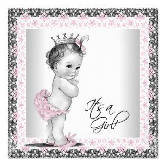 vintage baby shower ideas for girls | ... Vintage Baby Girl Shower Personalized Invitation by The_Vintage