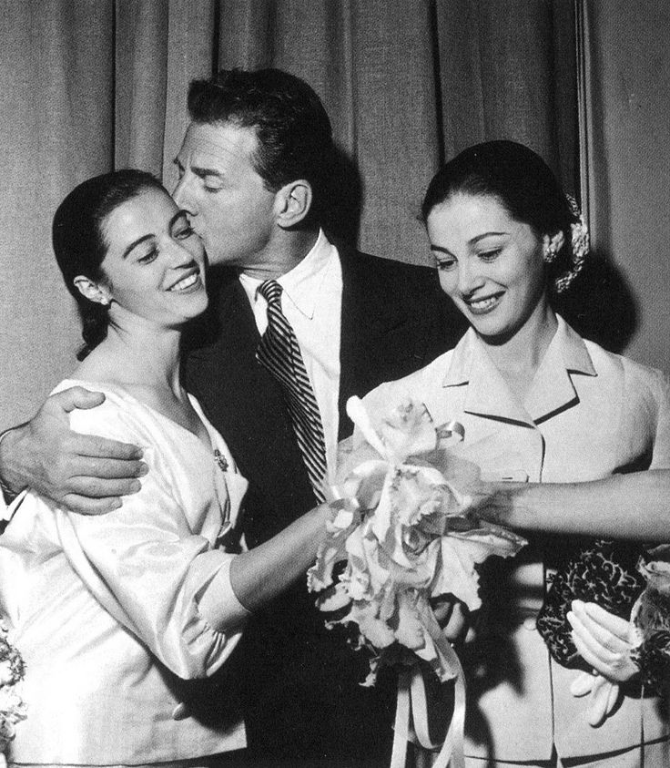 Marisa Pavin and Jean Pierre Aumont on their wedding day with her twin sister Pier Angeli.