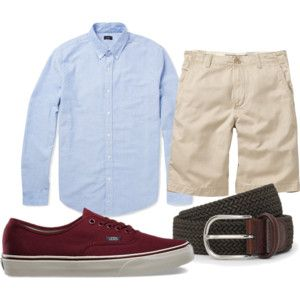 Polyvore: Light blue OCBD, stone shorts, olive belt, burgundy Vans