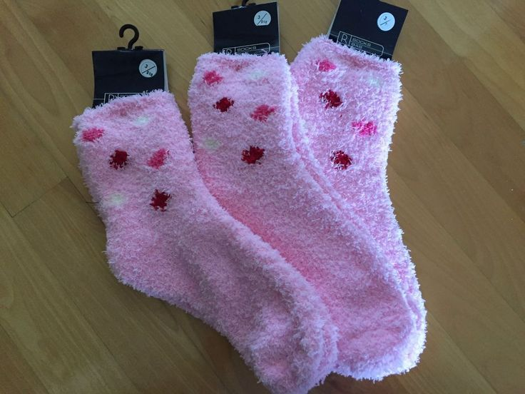 3 Pairs of PINK FLUFFY Socks for Women OS (9-11)