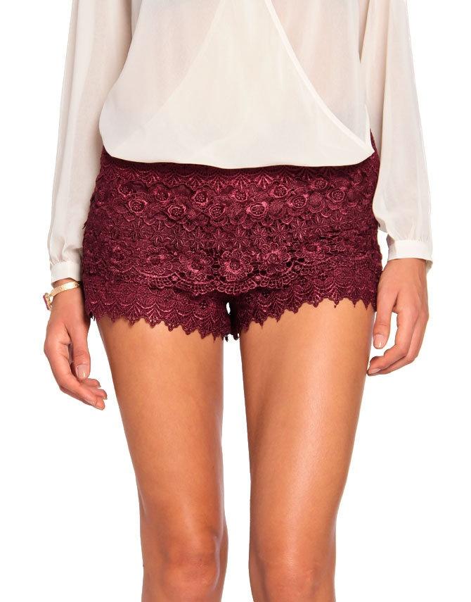 Red Crochet Shorts Hardon Clothes