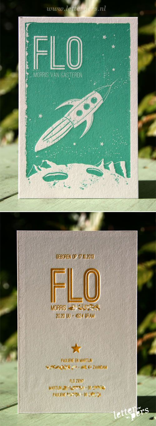 letterpers_letterpress_geboortekaartje_Joelle_Flo_mint-groen_geel_raket_stoer