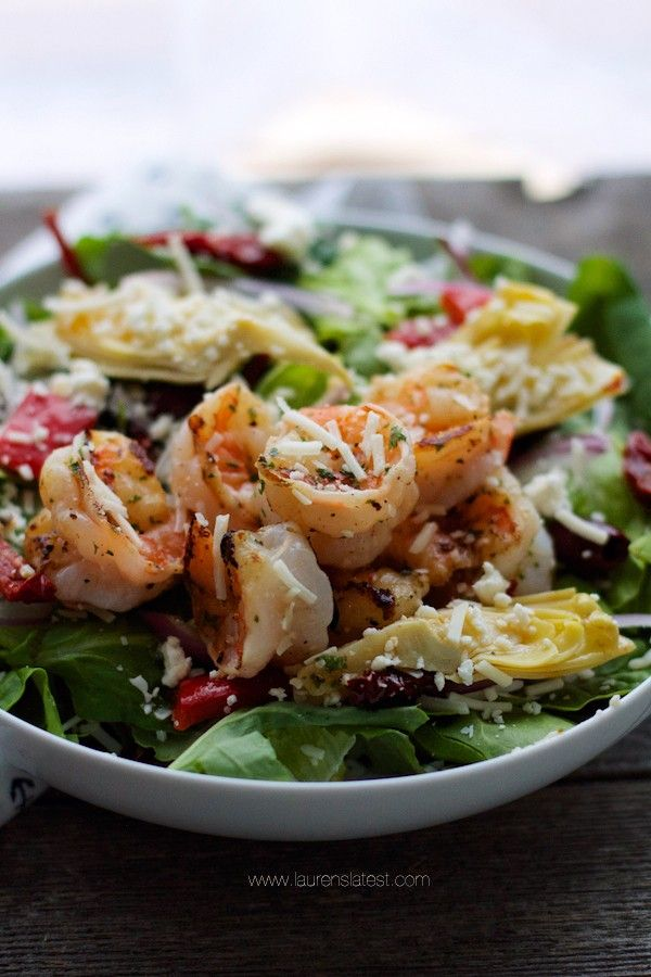 This Antipasto Grilled Shrimp Salad is a delicious and healthy way to get in those greens! If you love all the tastes from an antipasto platter, you'll love this salad!