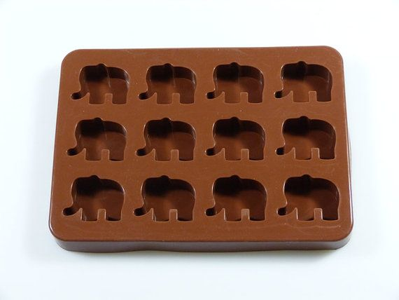This 12 cell chocolate mould is one of our registered designs. The chocolates from this mould are big enough to be suitable for use with fillings such as ganache or producing simple solid chocolates. The simplicity is the key. The mould may just produce a shape, but it has high definition. The polished interior of our silicone chocolate molds means your chocolate (if properly tempered) will have a high sheen finish When made in solid chocolate, each chunky little elephant weighs in at 22g…