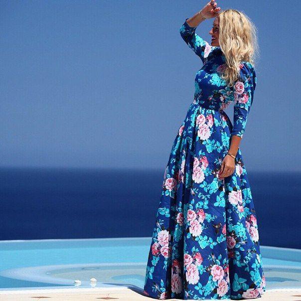 Aliexpress.com: Comprar 2015 verano playa mujeres del vestido de cuerpo entero la manga completa imprimir o cuello sexy ocasional lindo de bohemia de Vestidos fiable proveedores en Dream Plan