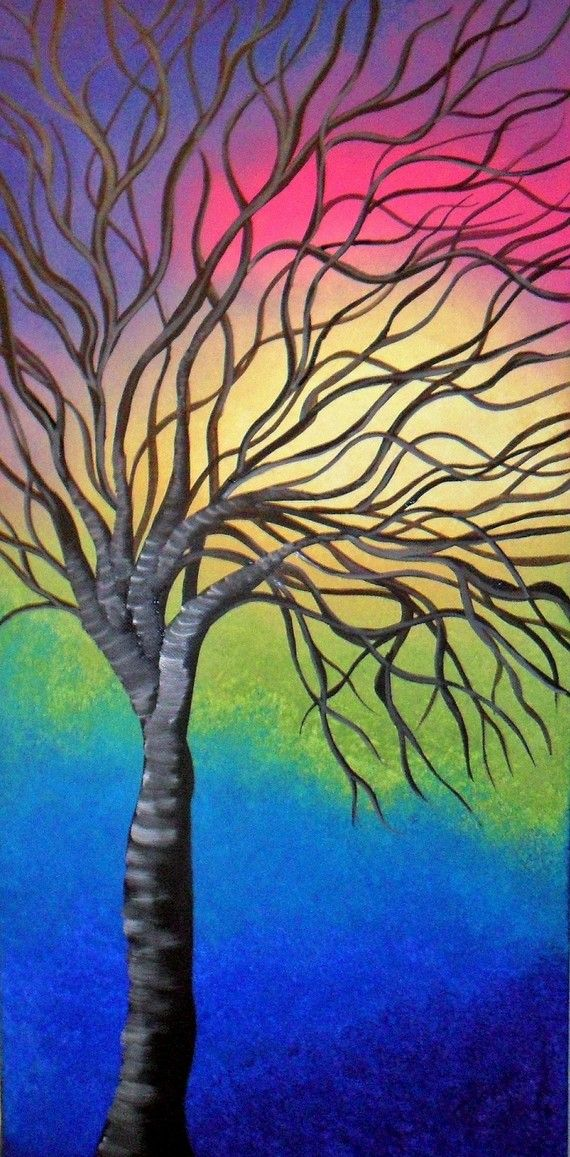 Rainbow Tree  Original Acrylic Abstract Painting by ArtFlutters
