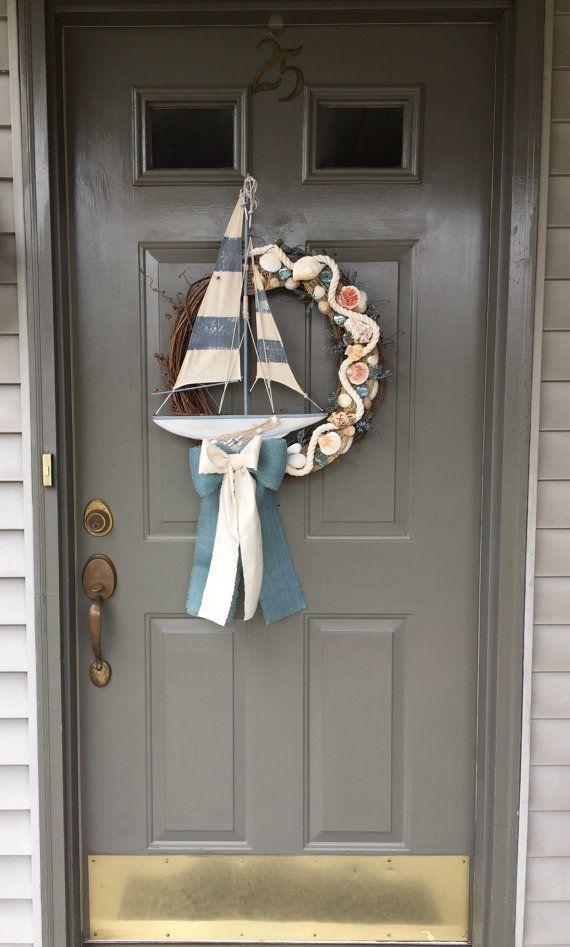 Beach Wreath, Nautical Decor, Nautical, Wreath, Summer Wreath, Sailboat, Boat, Seashell Wreath, Summer Home, Summer Wreaths