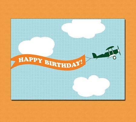 Banner Airplane Modern Birthday Card Design Cards Jpg 450x405 Happy Paper