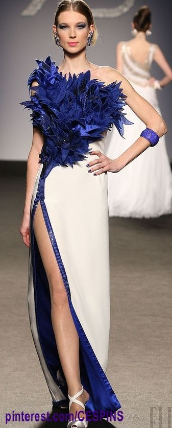 RENATO BALESTRA...Wow. Love this look. Imagine this in bridal fabric with bridal embellishments for that ultimate bridal look.Ask for embellishments suggestions that fit your wedding theme.