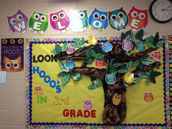 back to school bulletin board ideas | Look Hooo's in 3rd Grade! | Owl Themed Back-To-School Bulletin Board