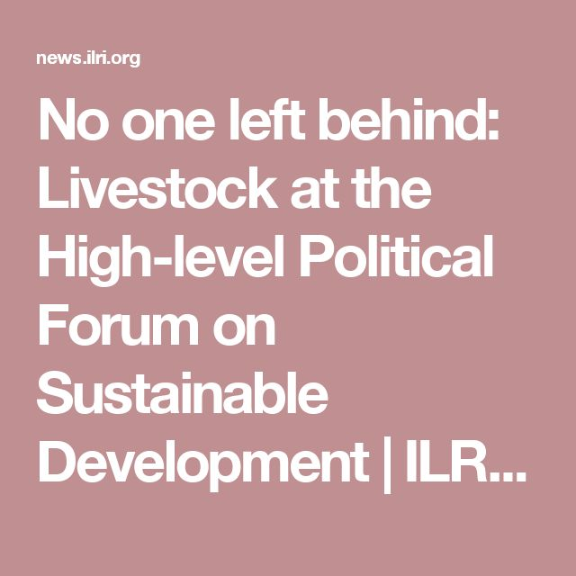 90 By Shirley Tarawali | ILRI News blog | 21 Jul 2016 ('No one left behind: Livestock at the High-level Political Forum on Sustainable Development)
