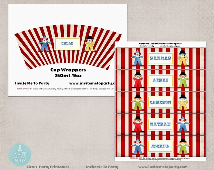 Carnival Party Decorations Printables cup wrappers and bottle wrappers Invite Me To Party: Carnival Party | Circus Party