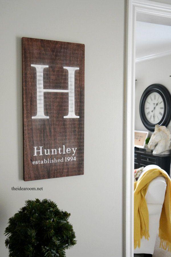 DIY Tutorial for a Monogram Initial Sign for your home decor | theidearoom.net