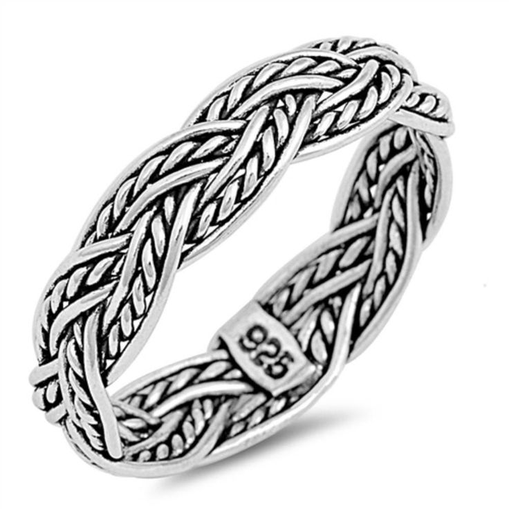 5mm Twisted Rope Braided Band Ring Black Oxidized Men Women Band Ring Solid 925 Sterling Silver His Her Wedding Anniversary Band Ring