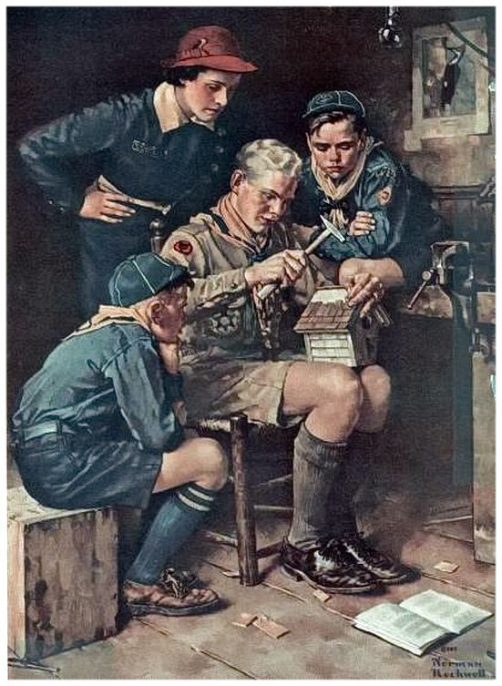 February 1938 Boys' Life Issue, painting by Norman Rockwell 'building a fine looking birdhouse'
