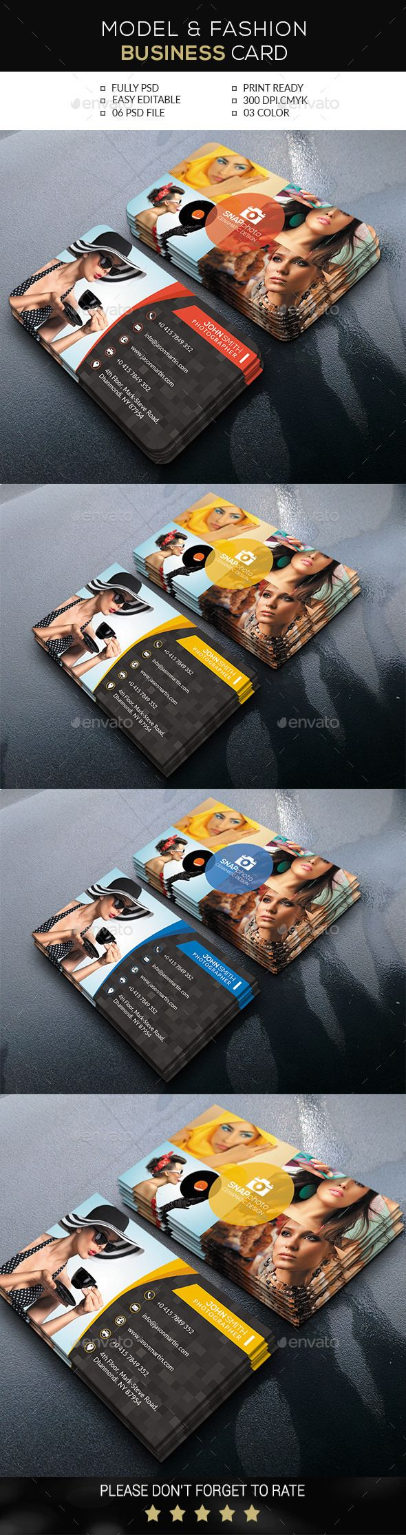 Model & Fashion Business Card Template #design Download: http://graphicriver.net/item/model-fashion-business-card/12333620?ref=ksioks