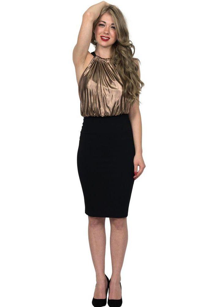 Φόρεμα midi αμάνικο. Το φόρεμα αφήνει ακάλυπτους τους ώμους, είναι μεταλιζέ μέχρι τη μέση και η φούστα είναι κρεπ. Έχει ανοιχτή πλάτη με φερμουάρ. Ένα εντυπωσιακό φόρεμα ιδανικό για events.  POLYESTER 96% -SPAN 4%