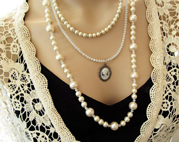$125  Swarovski Pearls Three Layer Multi Layer Necklace with Cameo.  rachelsjewelrydesigns.com