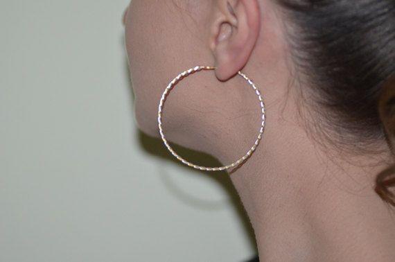Twisted LARGE GOLD HOOP #Earrings, gold filled & sterling silver hoops, thin gold #hoops, hoop earring, wire modern goldfilled hoop earings #handmade