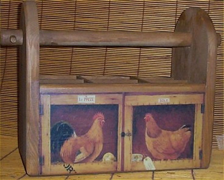 Utensil Holder Wood Rooster Country Handcrafted Kitchen Storage Caddy Solid Pine #Handcrafted