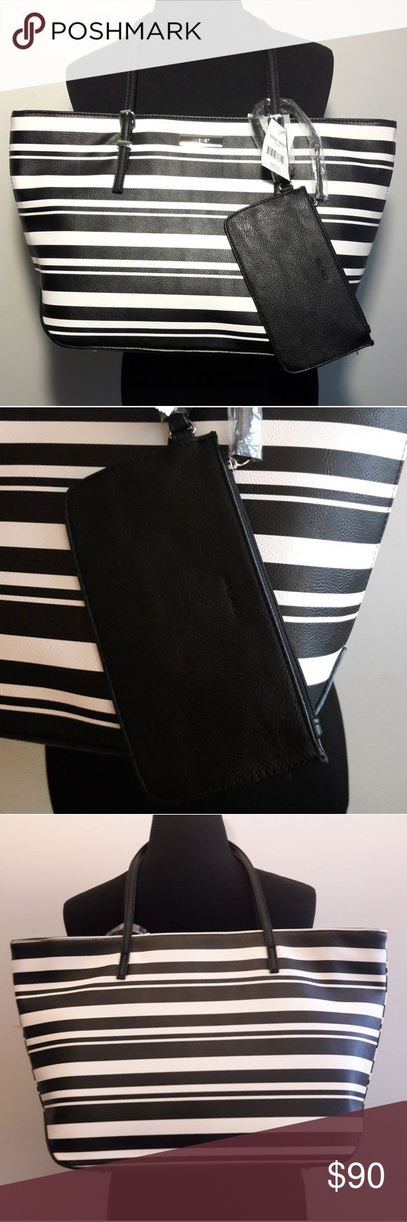 "Nine West Authentic ""IT GIRL"" Tote Purse Brand new with tag Authentic Nine West ""IT GIRL"" Black & White Large Handbag Tote Purse with Change purse.  Please be your to view all images before purchasing.  Thank you for Looking & Sharing Happy Poshing Nine West Bags Shoulder Bags"
