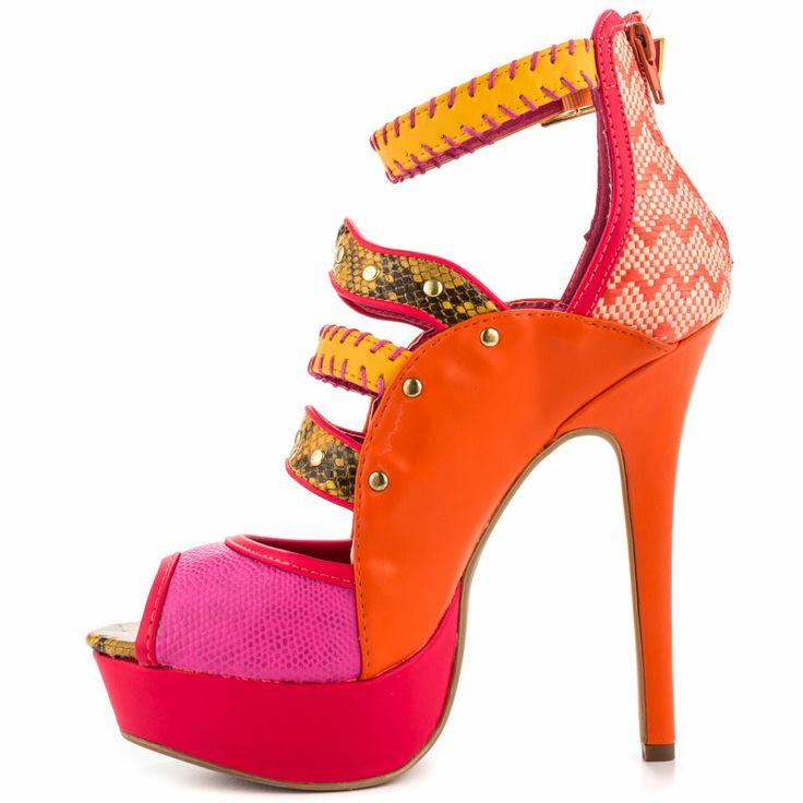Onlymaker Women's High Heel Open Toe Buckle Sandals Orange Suede Size US 7  - deal coupon