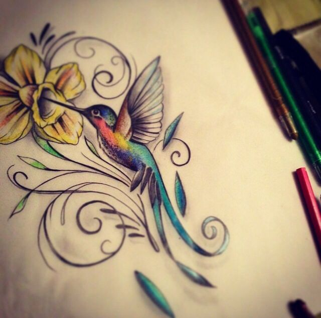 Humming Bird and flower tattoo