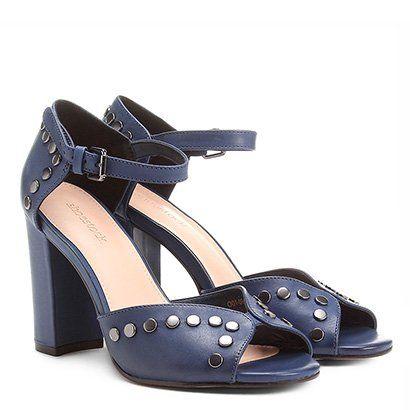 adad2d2607 Sandália Couro Shoestock Salto Grosso Tachas Feminina - Azul em 2019 ...