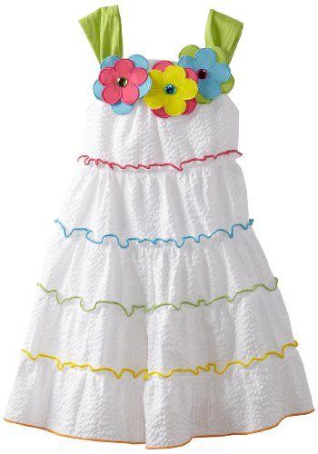 Rare Editions Girls 2-6X Tiered Seersucker Dress:Amazon:Clothing ♡♡♡